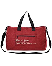 Canvas Duffle Bag Duffel Shoulder Sport Gym School Mens Women Travel Carry on with Pouch 20 x 14 x 8 Inches Red