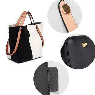 combination Ladies of with Tote purse Tote matching Leather piece set Capacity Black bag Large Woman shoulder and Ladies bag 2 both in set Purse Handbag shoulder Great Classic Faux White Handbags POYqwHd