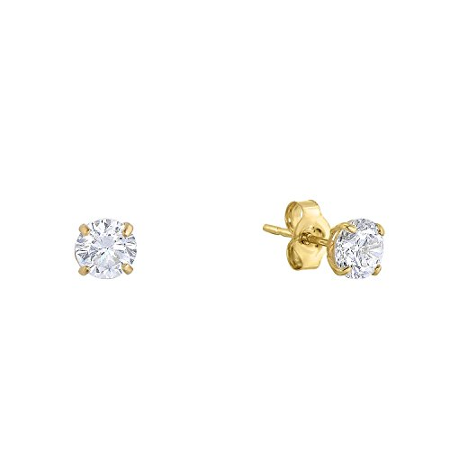 - 14k Yellow Gold Solitaire Round Cubic Zirconia CZ Stud Earrings with Gold butterfly Pushbacks (3mm)