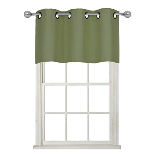 Home Queen Grommet Top Blackout Curtain Valance Window Treatment for Living Room, Short Straight Drape Valance, Set of 1, 37 X 18 Inch, Green ()