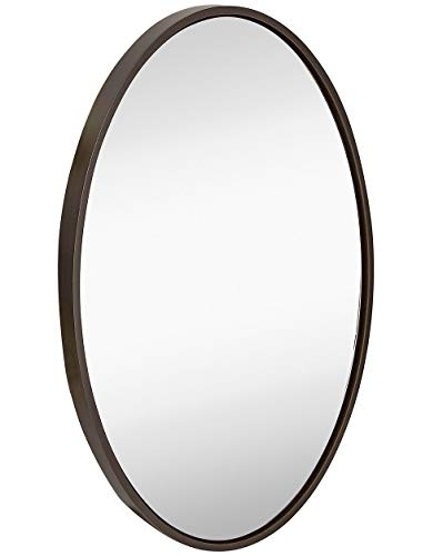 Hamilton Hills Clean Large Modern Wenge Oval Frame Wall Mirror | Contemporary Premium Silver Backed Floating Glass Panel | Vanity, Bedroom, or Bathroom | Hangs Horizontal or ()