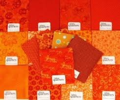 (FAT QUARTER ~ Set of 10 100 % COTTON ~ ORANGE ~ Quilt Fabric ~ CRAFTS ~ SEWING)