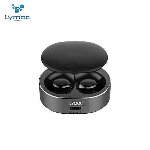 LYMOC B20 TWS Wireless Earphones Metal Bluetooth 5.0 Charger for Phone Earbuds Headset Hands-Free Earpiece Deep Bass with CVC6.0 Noise Cancell Wireless Headphone for Business/Driving (Black)