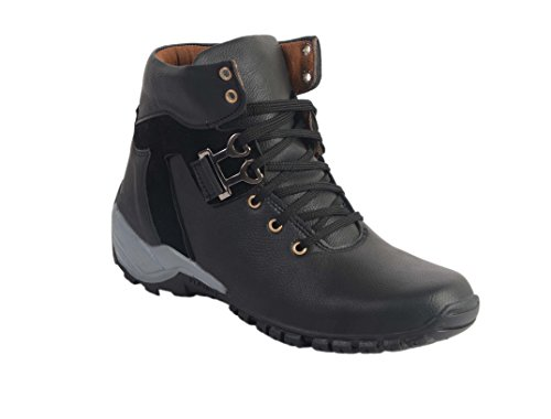 AADI Black High Ankle Casual Lace-Up Shoes