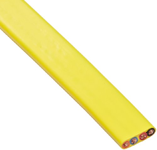 KH Industries FTCB-10/4-70 Flat Festoon Cable, PVC Jacket, 4 Conductor, 10 AWG, 70' Length, Yellow ()