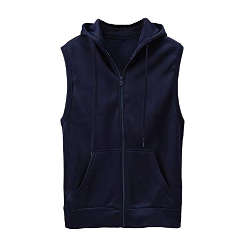 WUAI Clearance Men's Hoodie Jackets Sleeveless Slim Fit Waistcoat Solid Color Athletic Sports Tops(Navy,US Size S = Tag M) by WUAI (Image #5)