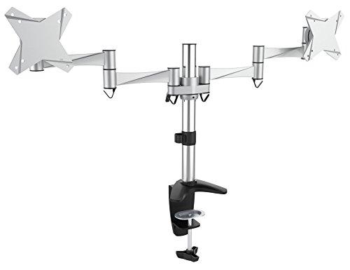 RICOO Tischhalterung für 2 Monitore TS3311 Monitorhalterung Schwenkbar Neigbar Schreibtisch Monitorständer Monitorhalterungen VESA 75x75 100x100 für 38cm/15
