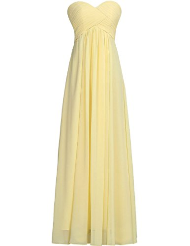 Bridesmaid Dresses Long Prom Dress Evening Party Gowns Plus Size Chiffon Sweetheart Maxi for Women Yellow US 30W ()