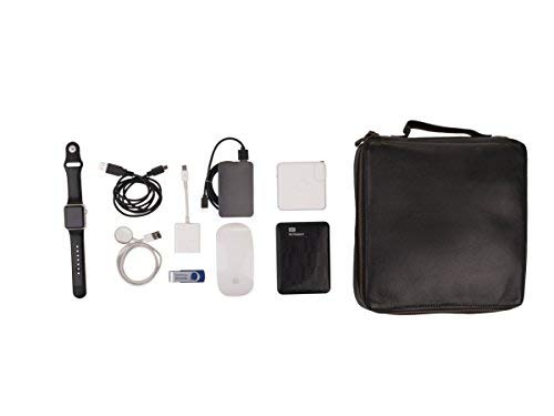 Dwellbee Travel Electronic Accessories and Cable Organizer, Large (Buffalo Leather, Black) by Dwellbee (Image #6)