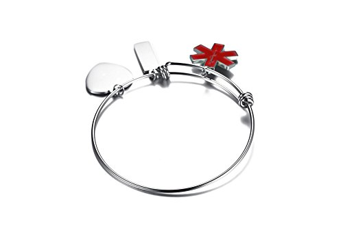VNOX COUMADIN Stainless Steel Medical Alert ID Charms Expandable Adjustable Bangle Bracelet for Women Girl by VNOX (Image #3)