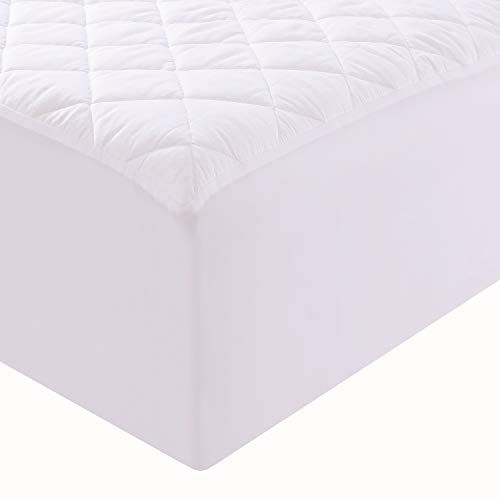 (Niagara Sleep Solution 100% Cotton Quilted Mattress Protector Twin Bed Size 15Inches Deep Pocket Breathable Absorbent Mattress Pad Cover Non Noisy (Twin 39x75x15-20Inches))