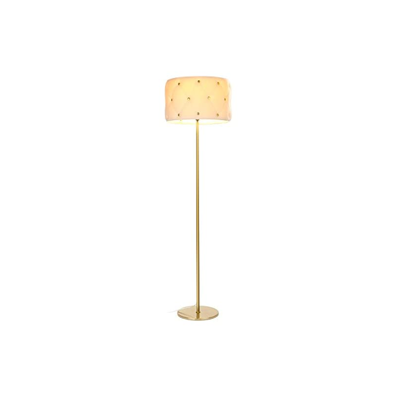 Brightech Tufted - Sofa Drum Shade LED Floor Lamp for Living Rooms - Modern, Standing Light & Contemporary Shade - Tall Pole Uplight for Offices, Bedrooms- LED Bulb Included - Antique Brass