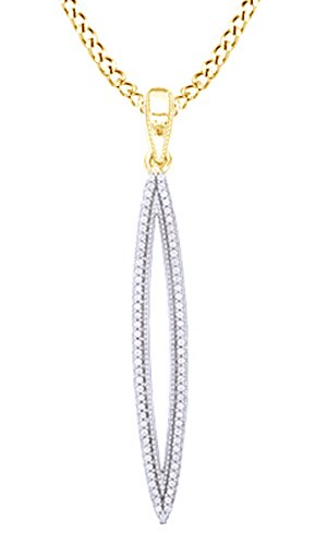 AFFY White Natural Diamond Marquise Shape Pendant Necklace in 10k Yellow Gold (0.2 cttw)