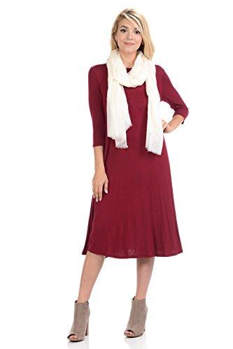 Swing Women's iconic Burgundy Line Dress Midi Trapeze A luxe xOwxP