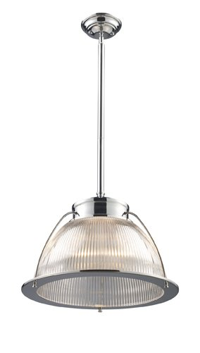(Elk 60004-1 Halophane 1-Light Pendant, Polished Chrome, 13-Inch H By 16-Inch)