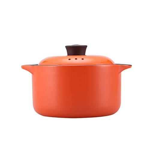 Lotus Blue 3-Quart Cartoon Pattern Ceramic Round Orange Dish Casserole/Clay Pot/Earthen Pot/Ceramic Cookware Heat-Resistant Gift Box