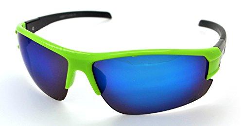 Vertx léger durable pour homme et pour femme Athletic Sport Wrap Lunettes de soleil Cyclisme Course à Pied W/étui microfibre gratuit Green Frame - Blue Lens
