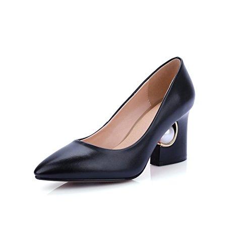 Elegante luz de punta gruesa con tacón alto de wedding shoes singles femeninos zapatos black
