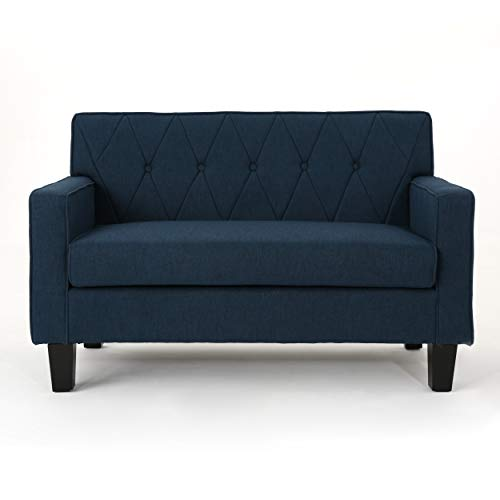 Melantha Button Stitch Navy Blue Fabric Loveseat
