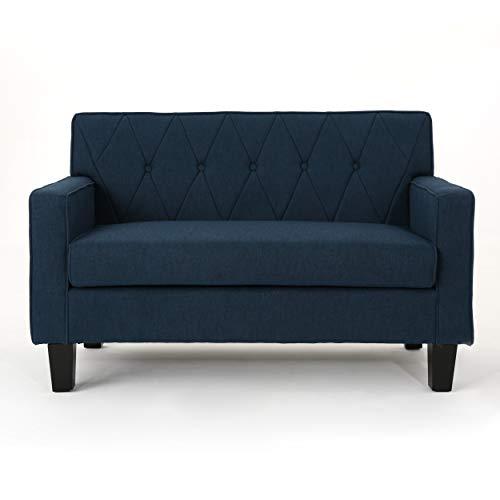 Melantha Button Stitch Navy Blue Fabric Loveseat