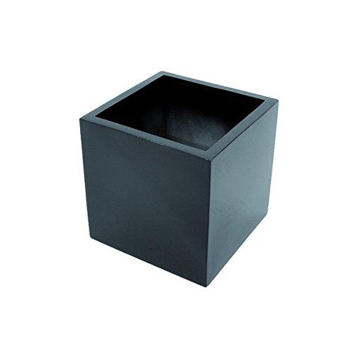 Übertopf MEO, schwarz, glänzend, 50 x 50 x 50 cm - Blumentopf eckig / Pflanztopf - monsterkatz