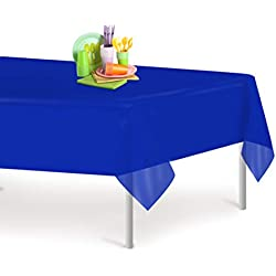 Blue 6 Pack Premium Disposable Plastic Tablecloth 54 Inch. x 108 Inch. Rectangle Table Cover By Grandipity