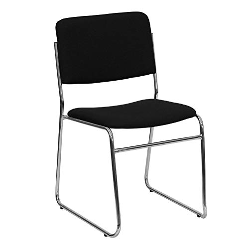 Lancaster Home Hercules Series 1000-pound Capacity Black Fabric High Density Stacking Chair with Chrome Sled Base