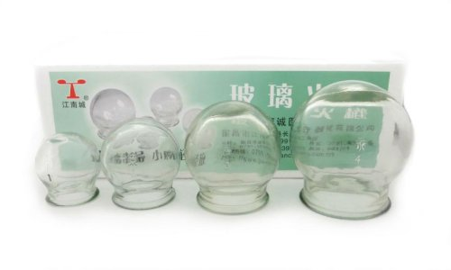 4 Cup Round Glass Fire Cupping Jars for Chinese Cupping Therapy and Massage