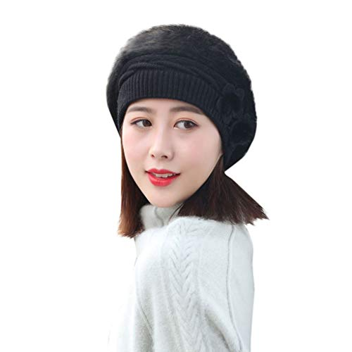 Cinhent Hat Lady Women Winter Floral Knitted Beret Baggy Beanie Slouch Ski Cap
