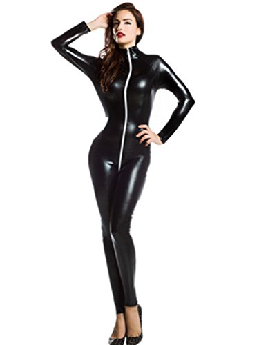 Amour- Catsuit Women Bodysuit Zip up Clubwear Stripper (Regular Size, black-5) (Pink Catsuit)