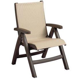 Grosfillex Belize Midback Folding Sling Chair - Khaki Sli...