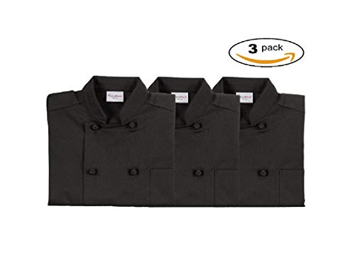 (Chef's Pride Unisex Chef Coat - Double Breasted Long Sleeve Chef Jacket with Cloth Knotted Buttons- Poly Cotton Blend (3 pack small, black) )