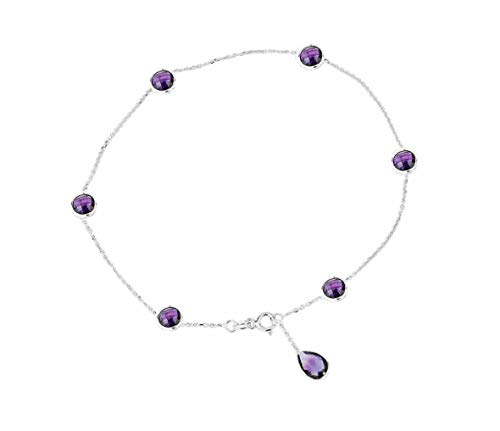 14K White Gold Anklet Bracelet With Amethysts And A Pear Shape Drop 9 Inches
