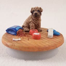 Conversation Concepts Miniature Shar Pei Brown Candle Topper Tiny One ''A Day at Home'' by Conversation Concepts