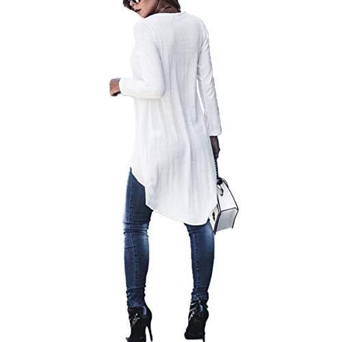 irregular Camisetas manga dobladillo White larga bajo ZFFde M tamaño de sin de Color Invierno con alto mangas Camisetas con cuello mujer Ctwwaq8