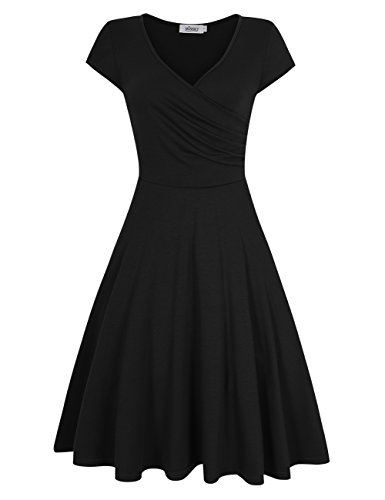 MISSKY Black Dresses for Women A-line Elegant Short Sleeve V Neck Dresses for Women Slim Fit and Flare Swing Vintage Dresses for Women, Black S