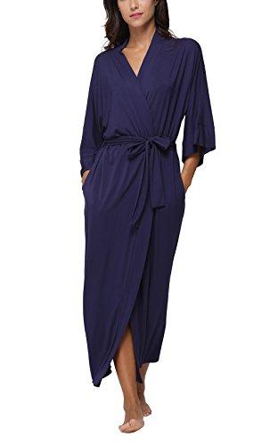 (FADSHOW Women's Soft Long Sleepwear Modal Cotton Wrap Robe Bathrobe NightGown Navy,X-Large)