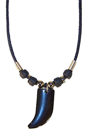 Bear Claw Hematite Pendant on Beaded Rope Necklace