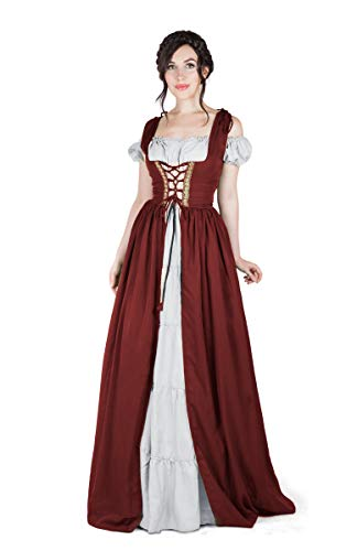 Boho Set Medieval Irish Costume Chemise and Over Dress (L/XL, Cranbery/White)