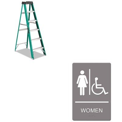 KITDADFS4006USS4814 - Value Kit - ADA Sign, Women Handicap (USS4814) and Ladder, Step, Fibergls Ii, 6' (DADFS4006) by Headline Signs