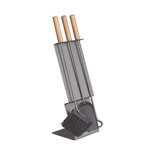 Schössmetall Kamingarnitur 3-tlg. Anthrazit/Griffe Buche GED, Mikado-1 04560630