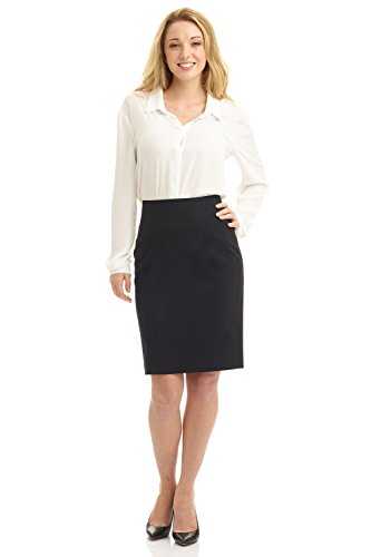 Rekucci Collection Women's Stretch Wool Pencil Skirt with Back Zip Detail (12,Black) by Rekucci (Image #3)