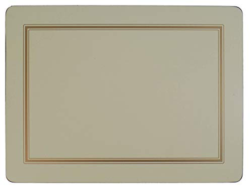 SET OF 4 CREAM GOLD BORDERED CLASSIC CORK BACKED LARGE PLACEMATS & 6 ()