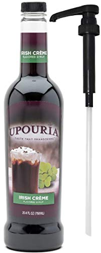 Upouria Coffee Syrup - Irish Creme Flavoring, 100% Gluten Free, Vegan, and Non Dairy, 750 mL Bottle - Coffee Syrup Pump Included