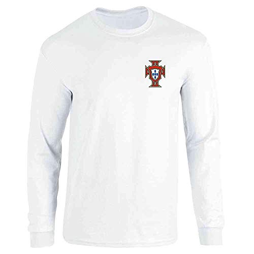 Portugal Soccer Retro National Team Football White L Long Sleeve T-Shirt