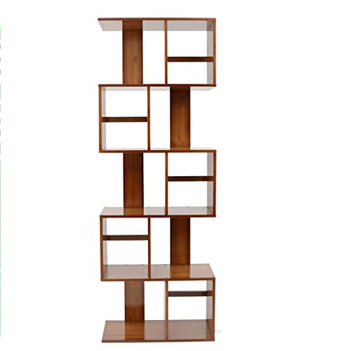 (QiXian Shelves Organizer for Books Bookcase Bookshelf Ends S-Shaped Bamboo Landing Bookcase Cut Off The Shelf Living Room Modern Contemporary Minimalist Strong Sturdy, 5-Tier)