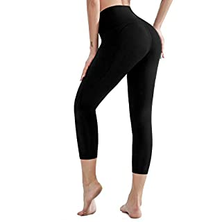 AladdinShare High Waisted Ultra Soft Yoga Pants - Pockets Workout Women Capri Leggings Tummy Control Athletic Running Tights Black X-Large