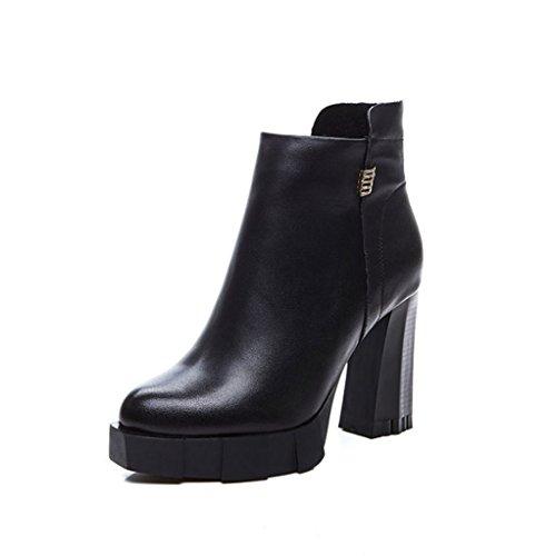 De Noir Les Femmes Véritable Résistant Cuir En Fan Femmes Xz Pour Chaussures L'usure À Unis Rehaussent États Mode Europe Bottes Les Et x7Aq1w