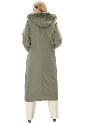 Woman Within Women's Plus Size Coat Parka In Microfiber Olive Grey,3X by Woman Within (Image #2)