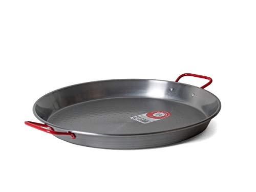 Garcima C-15RED 15-Inch Carbon Steel Paella Pan, 38cm, Medium, Silver